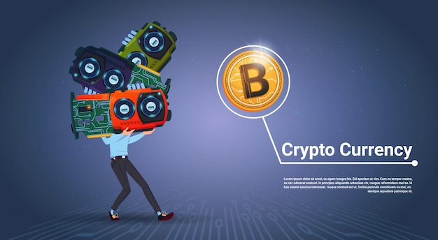 Man holding microchips crypto valuta concept digitale moderne web bitcoins over blauwe achtergrond