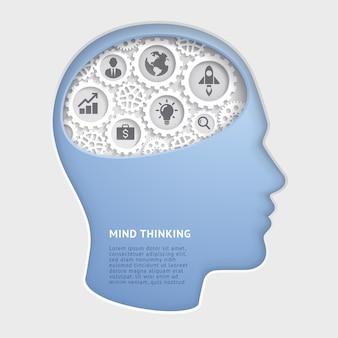 Man hoofd geest denken met versnellingssymbool papier gesneden illustraties