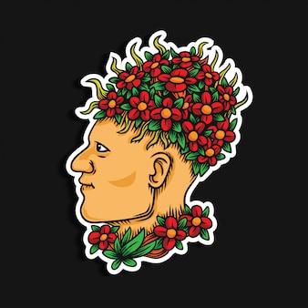 Man hoofd met bloem tekening illustratie