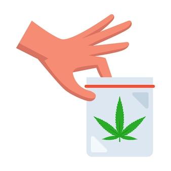 Man houdt een pakje marihuana in zijn hand. platte vectorillustratie.