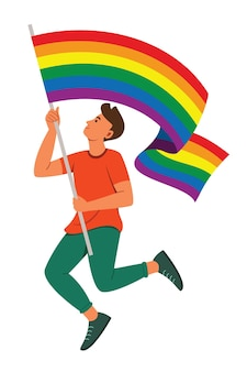 Man houdt een regenboogvlag vast voor de lgbt-beweging Premium Vector