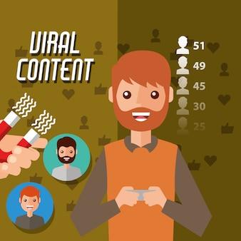 Man houdt mobiele virale inhoud met magneet trekt volgers aan