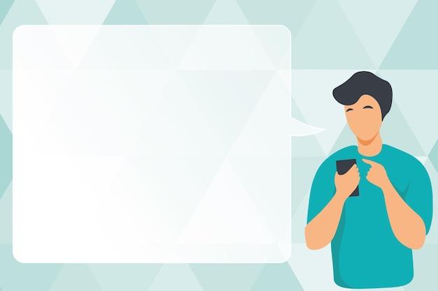 Man illustratie met behulp van mobiel en tekstballon weergeven. gentelman sms't op telefoon terwijl hij een gesprek met een wolkballon laat zien.
