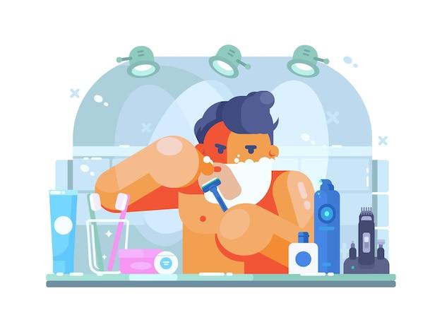 Man in badkamer met scheermes scheert gezicht ochtend. vlakke afbeelding