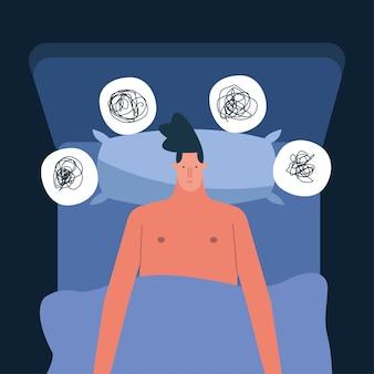 Man in bed denken problemen die lijden aan slapeloosheid characterdesign vector illustratie