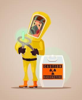 Man in beschermend pak houdt radioactief afval uitstoot platte cartoon afbeelding