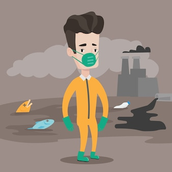 Man in beschermend pak van straling.