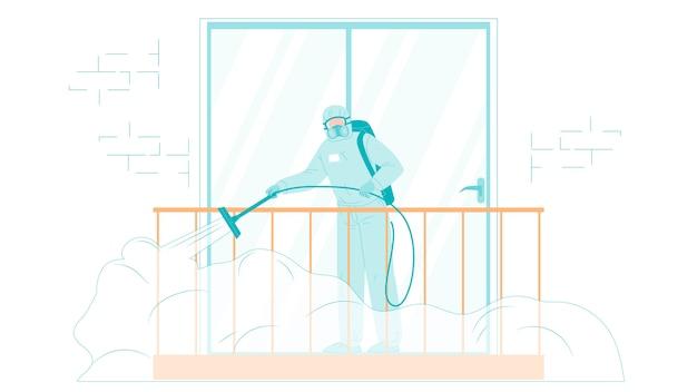 Man in beschermende pak desinfecteren balkon