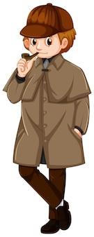 Man in bruine jas met rookpijp