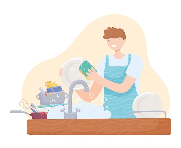 Man in de keuken aan het wassen
