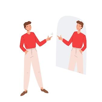 Man in de spiegel kijken en handgebaar van steun en begrip tonen aan zijn spiegelbeeld. guy spreekt een positieve boodschap uit aan zijn spiegeling. concept van eigenliefde en acceptatie. vlakke afbeelding