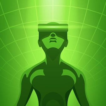 Man in de virtual reality-headset