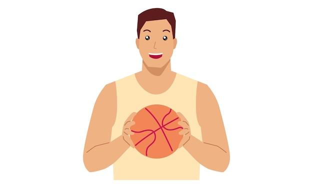 Man in een basketbal outfit met een bal