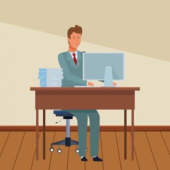 Man in een bureau