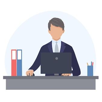 Man in een pak werkt op een computer op kantoor. vectorillustratie in de platte ontwerpstijl.