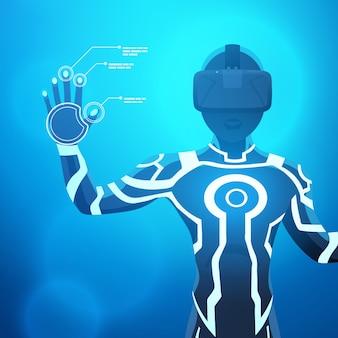 Man in een virtual reality helm