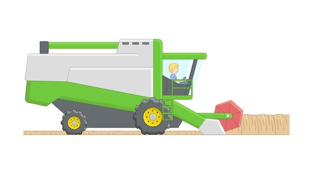Man in groene maaidorser. cartoon overzichtssamenstelling met landbouwmachines. landelijke boerderijwerk lineaire samenstelling met overzicht. landbouwtoestel op het werk.