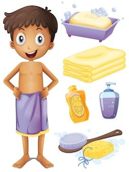 Man in handdoek en badkamer set illustratie