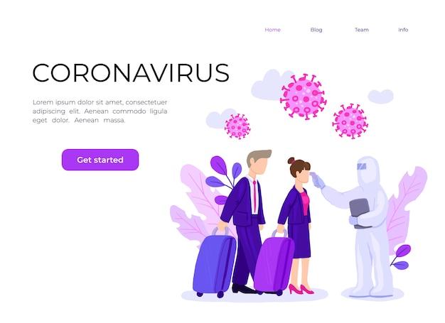 Man in hazmat-pak controleert temperatuur van luchthavenpassagiers die coronavirusinfectie verspreiden