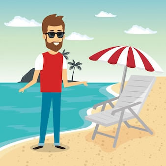 Man in het strand karakter