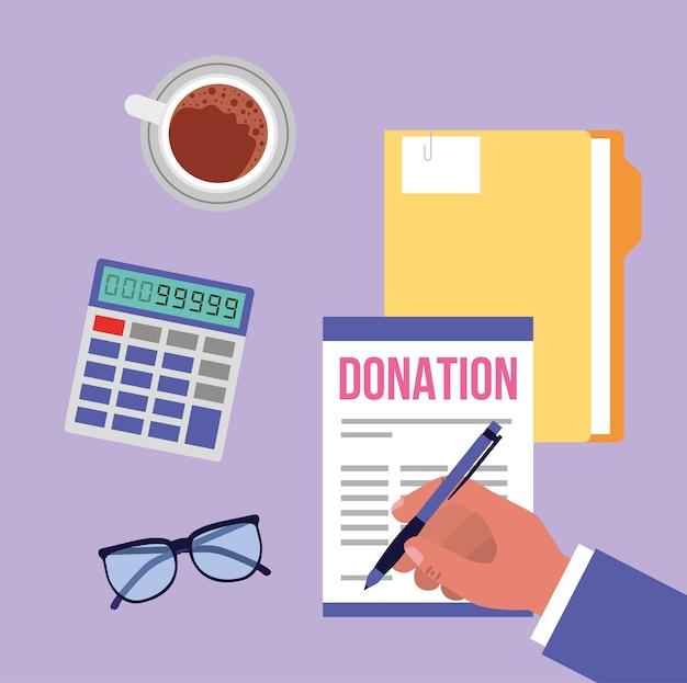 Man in kantoor donatie cartoon stijl illustratie geven