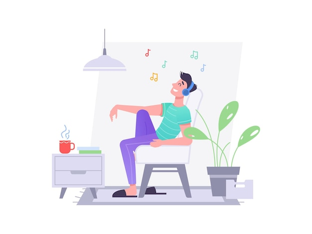 Man in koptelefoon luistert muziek in stoel thuis vector platte geïsoleerde karakter jonge man of tiener