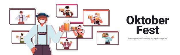 Man in masker bier drinken bespreken met mix race vrienden