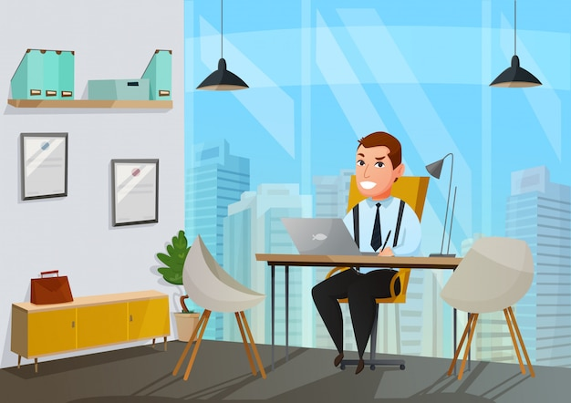 Man in office illustratie