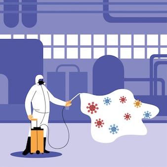 Man in pak die de industrie door covid-19 desinfecteert
