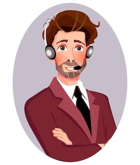 Man in pak met hoofdtelefoon.