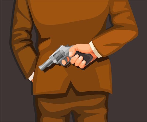Man in pak met pistool in de rug. moordenaar crimineel
