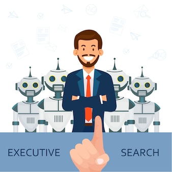 Man in pak op achtergrondrobots. executive search