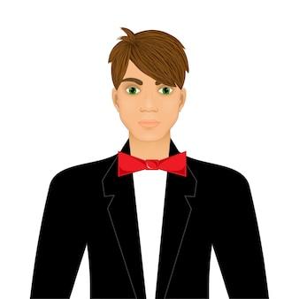 Man in pak pictogram geïsoleerd op een witte achtergrond. vector illustratie.