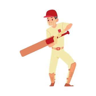 Man in pet en sport uniforme staat met cricket bat cartoon-stijl