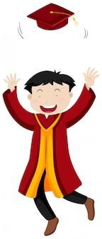 Man in rode afstuderen toga