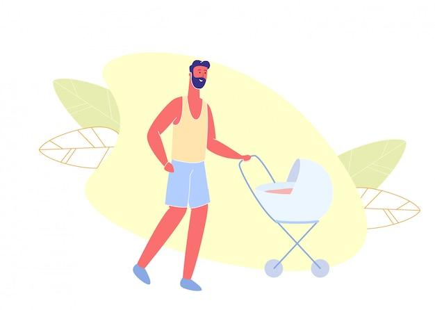 Man in shirt en korte broek lopen met baby in wandelwagen