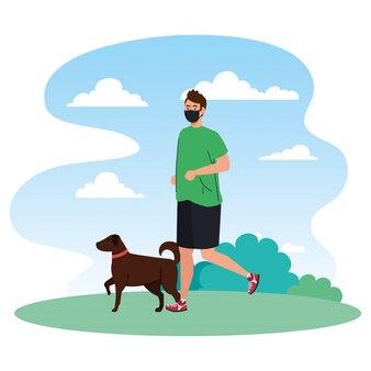 Man in sportkleding met medisch masker, met hond buiten, preventie coronavirus covid 19