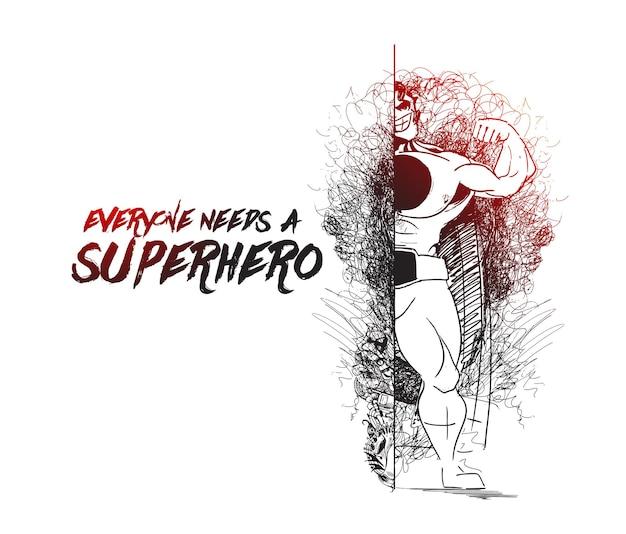 Man in superman pose en activity line art-tekening