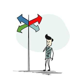 Man in twijfel, moeten kiezen tussen juiste keuzes aangegeven door pijlen richting concept. cartoon hand getrokken schets vectorillustratie.