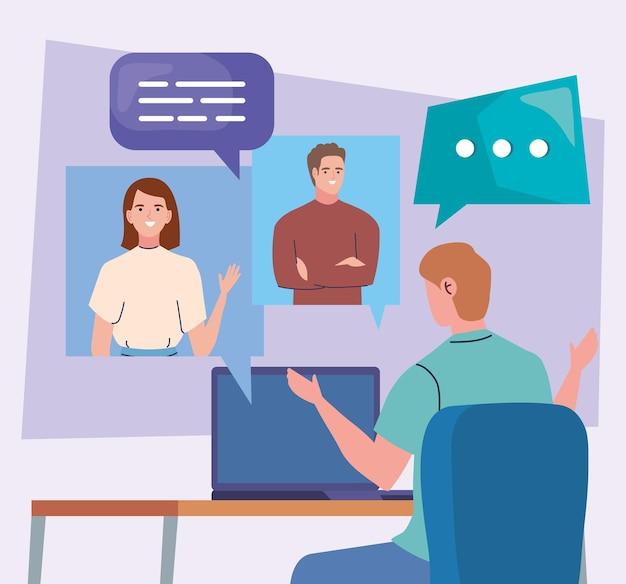 Man in videoconferentie