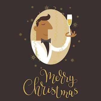 Man in witte smoking pak het vieren van kerstmis met een glas champain