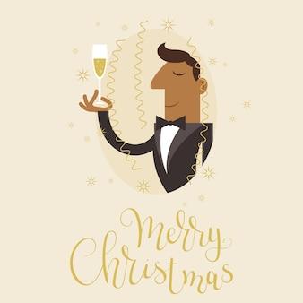 Man in zwarte smoking pak het vieren van kerstmis met een glas champain