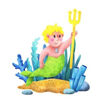 Man is een zeemeermin met geel haar en een drietand in zijn hand