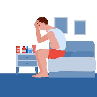 Man is ziek en verkouden de patiënt heeft hoofdpijn en buikpijn misselijkheid en braken coronavirus