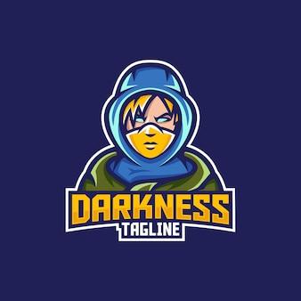 Man, jongen mascotte illustratie met hoodie en gezichtsmasker mascotte logo