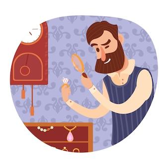 Man juwelier geeft waardering van sieraden