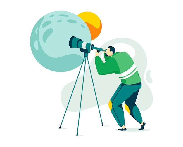 Man karakter astronoom, mannelijke stargazer onderzoek nacht ruimte planeet en satelliet geïsoleerd op wit, cartoon illustratie.