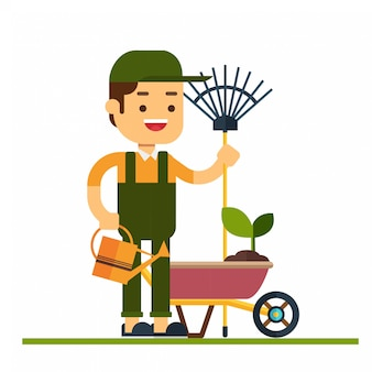 Man karakter avatar icon.gardener karakter in platte ontwerp met kruiwagen