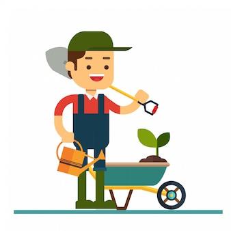 Man karakter avatar icon.gardener karakter in platte ontwerp