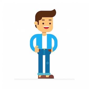 Man karakter avatar icon.man bestaat uit een shirt en een broek